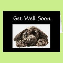 Custom Get Well Soon, Sad Labrador Dog Blues Card