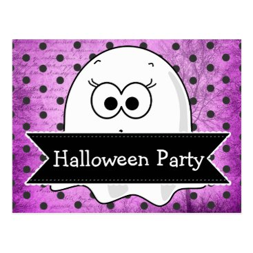 Halloween Themed Custom Ghost Halloween Party Invitation Postcard