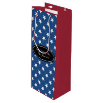 Custom gift bag for wine | Patriotic star pattern