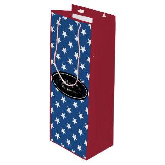 Custom gift bag for wine | Patriotic star pattern