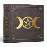 Custom Gilded Triple Moon Pentacle Book of Shadows 3 Ring Binders