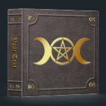 "Custom Gilded Triple Moon Pentacle Book of Shadows Binder<br><div class=""desc"">Customizable faux leather embossed gilded triple moon pentacle book of shadows binder.</div>"