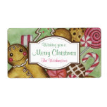 "Custom Gingerbread Christmas Labels<br><div class=""desc"">A gingerbread boy and an assortment of Christmas cookies decorate this cute holiday label. Personalize this label by changing the text. Use these cute gingerbread Christmas cookie labels for Christmas gifts,  gift bags,  crafts,  food containers,  kitchen items,  etc... .The design is from original art.</div>"