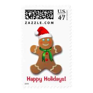 Custom Gingerbread Santa Claus Postage