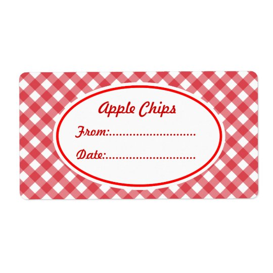 Custom Gingham Kitchen Labels