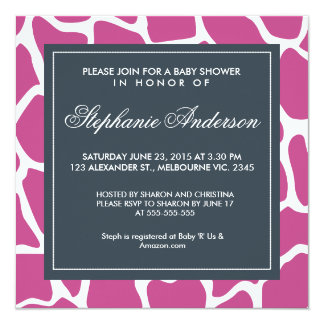 Custom giraffe baby shower invite