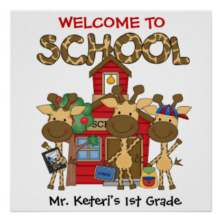 Custom Giraffe School Welcome Poster