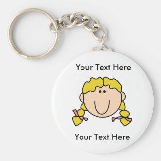 Custom Girl Blonde Braids Keychain