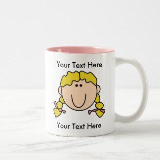 Custom Girl Blonde Braids Mug - Customizable