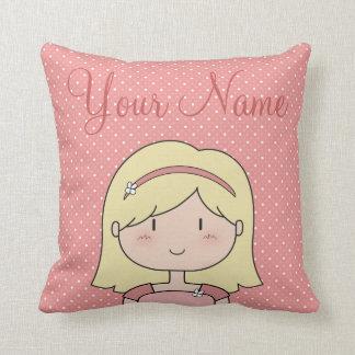 Custom Girl (blonde) Throw Pillow