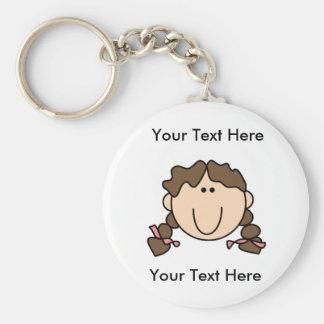 Custom Girl Brown Braids Keychain