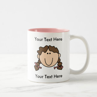 Custom Girl Brown Braids Mug - Customizable