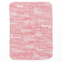 custom girl color names, personalized pink swaddle blanket