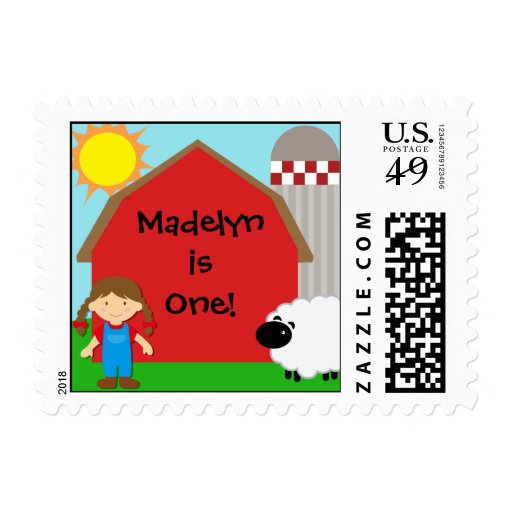 Custom Girl Farm Birthday Postage Stamps