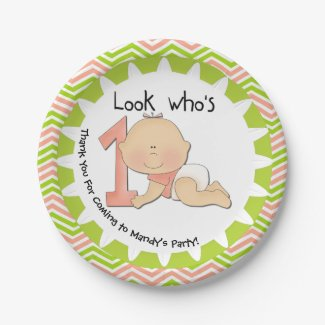Custom Girl Look Who's 1 1st Birthday Paper Plate 7 Inch Paper Plate
