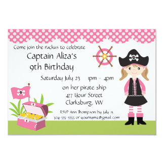 Custom Girl Pirate Birthday Party 5x7 Paper Invitation Card