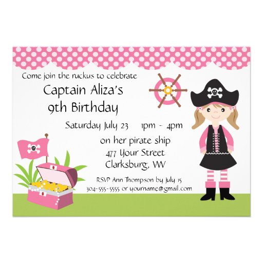 custom girl pirate birthday party custom invites. Black Bedroom Furniture Sets. Home Design Ideas