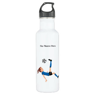 Custom Girl Soccer Player Themed Water Bottle