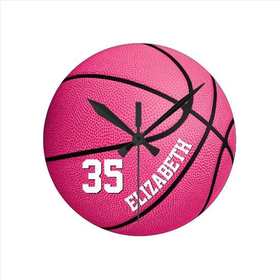 custom girls basketball pink round clock
