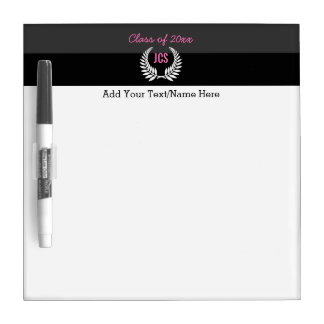 Custom Girls Graduation Party Black Pink Monogram Dry-Erase Boards