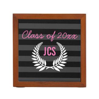 Custom Girls Graduation Party Black Pink Monogram Pencil Holder