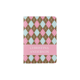 Custom Girl's Name Argyle Pattern Pink Brown Blue Passport Holder