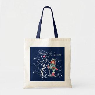 Custom Girl's Name Christmas Gift Tote Bags