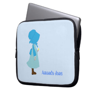 Custom girls name cute child blue laptop bag laptop computer sleeves