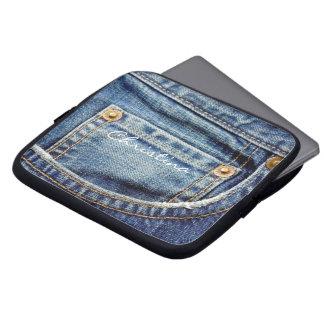 Custom girls name denim blue jeans laptop sleeve