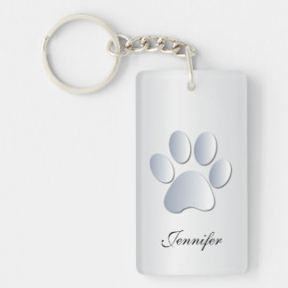 Custom girls name dog paw print in silver, gift Double-Sided rectangular acrylic keychain