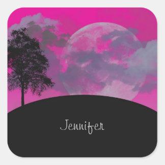 Custom girls name pink fantasy moon, clouds, tree square sticker