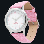 "Custom Girls Name Pink Glitter Strap Kids Watch<br><div class=""desc"">Custom, personalized, kids girls fun cool girly pink glitter strap, stainless steel case, wrist watch. Simply type in the name. Go ahead create a wonderful, custom watch for the lil princess in your life - daughter, sister, niece, grandaughter, goddaughter, stepdaughter. Makes a great custom gift for birthday, graduation, christmas, holidays,...</div>"