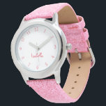 """Custom Girls Name Pink Glitter Strap Kids Watch<br><div class=""""desc"""">Custom, personalized, kids girls fun cool girly pink glitter strap, stainless steel case, wrist watch. Simply type in the name. Go ahead create a wonderful, custom watch for the lil princess in your life - daughter, sister, niece, grandaughter, goddaughter, stepdaughter. Makes a great custom gift for birthday, graduation, christmas, holidays,...</div>"""