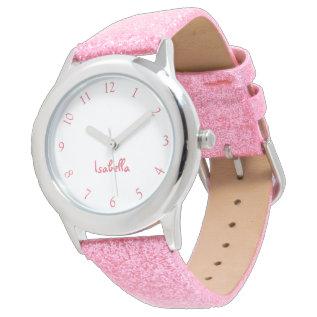 Custom Girls Name Pink Glitter Strap Kids Watch at Zazzle