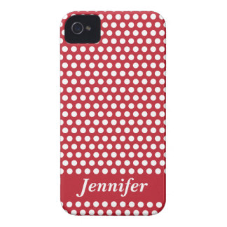Custom girls name red white polka dots iphone case Case-Mate iPhone 4 cases