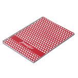 Custom girls name red & white polka dots notebook