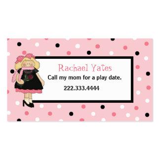 Custom Girl's Play Date Enclosure Card Business Card