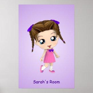 Custom Girls Room Chibi Poster print