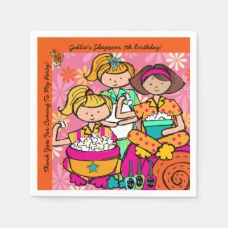 Custom Girls Slumber Party Birthday Paper Napkins