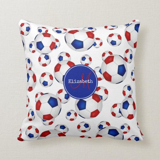custom girls' soccer red white and blue throw pillow