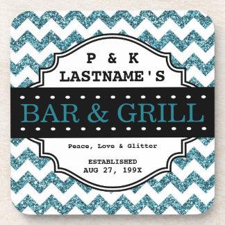 Custom Girly Aqua Glitter Bar and Grille Drink Coaster