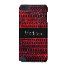 Custom Girly Aztec Red Galaxy 5g Ipod Touch Case at Zazzle