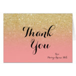 Custom girly faux gold glitter pink thank you 2 card