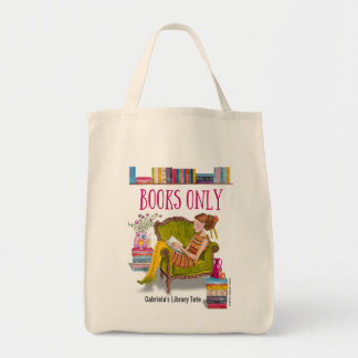 Custom Girly Library bag   tote bag
