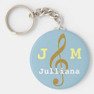 custom girly musical treble clef basic round button keychain