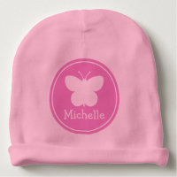 Custom girly pink baby hats with butterfly design baby beanie