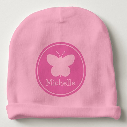 Custom girly pink baby hats with butterfly design baby beanie ... 15aa9234328