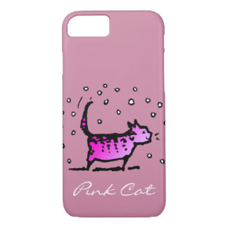 Custom Girly Pink Cat iPhone 7 Case