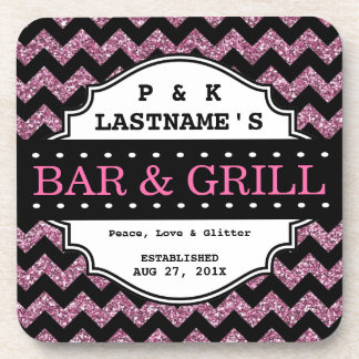 Custom Girly Pink Glitter Bar and Grille Beverage Coasters