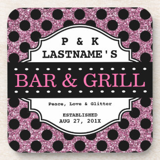 Custom Girly Pink Glitter Bar and Grille Drink Coasters